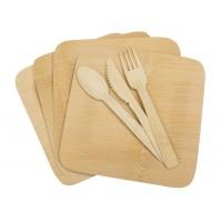 Бамбуков комплект за хранене, 16 части