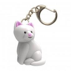 Ключодържател LED Бяла котка